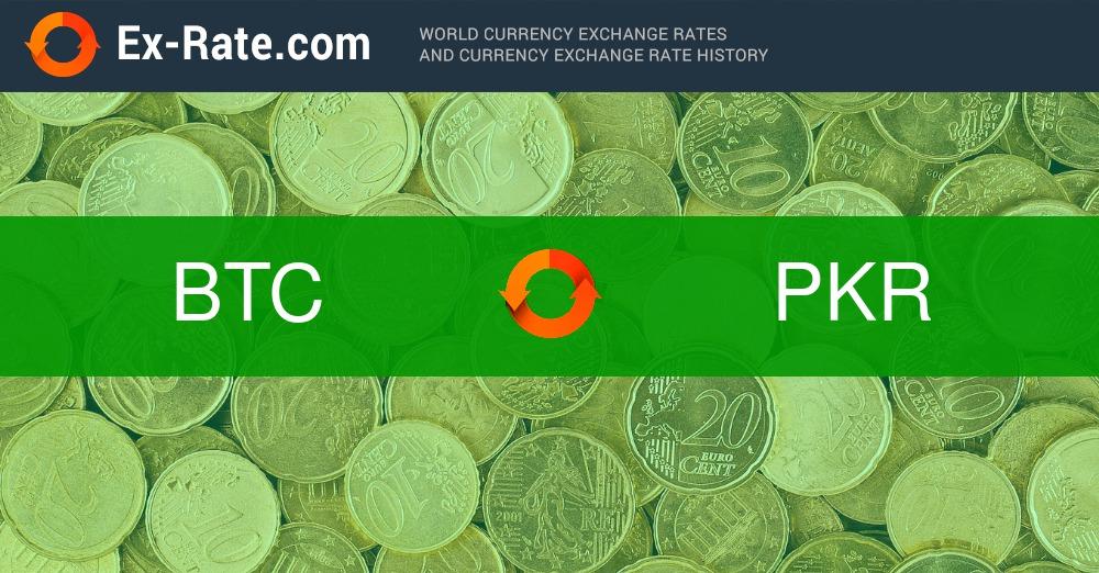Bitcoin (BTC) ir Pakistano rupija (PKR) Valiutos kursas konversijos skaičiuoklė
